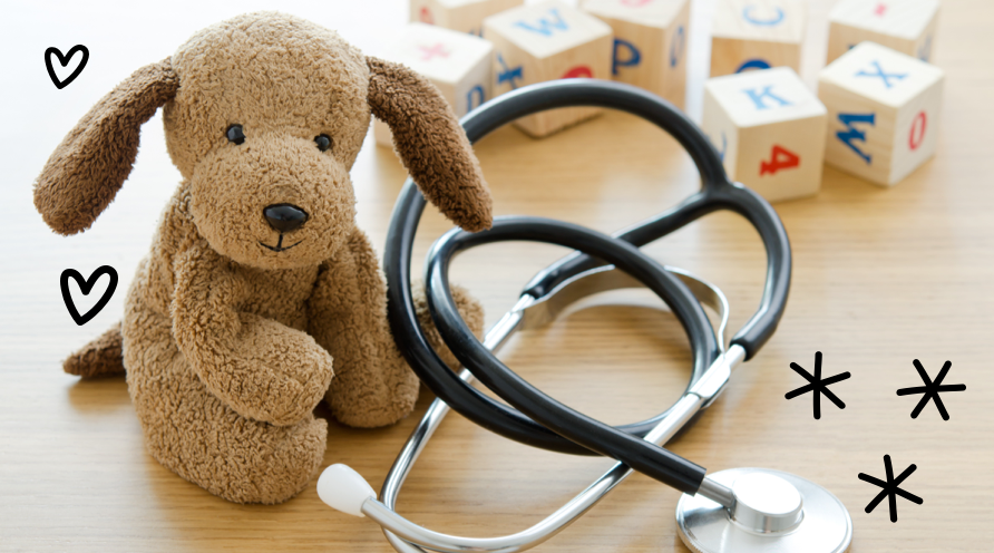 plush dog with stethoscope