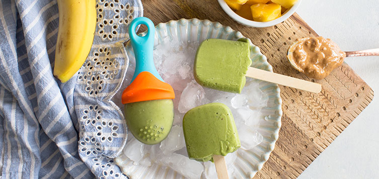 Peanut Butter Green Smoothie Popsicles